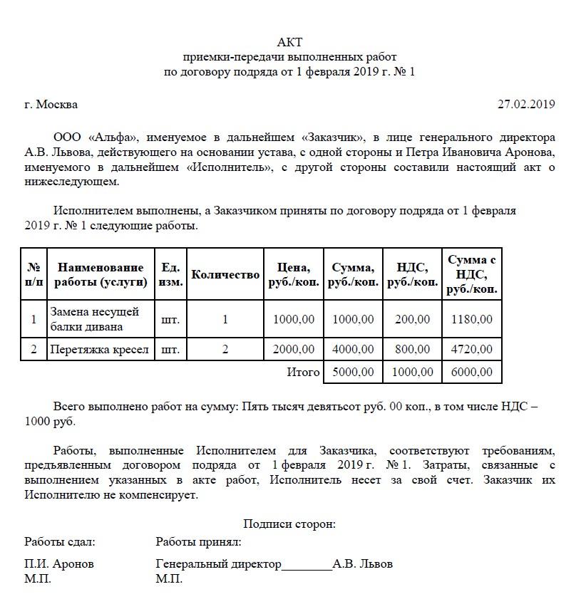 Образец акта выполненных работ по договору подряда в 2020 году