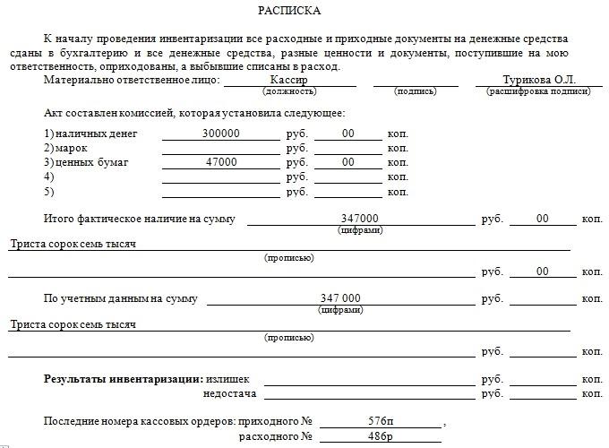 Расписка материально-ответственного лица и данные по результатам проверки