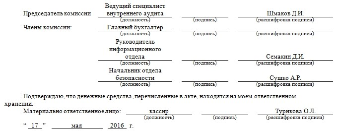Подписи инвентаризационной комиссии
