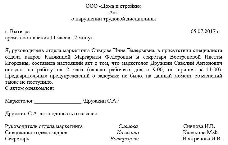Образец составления акта о нарушении трудовой дисциплины