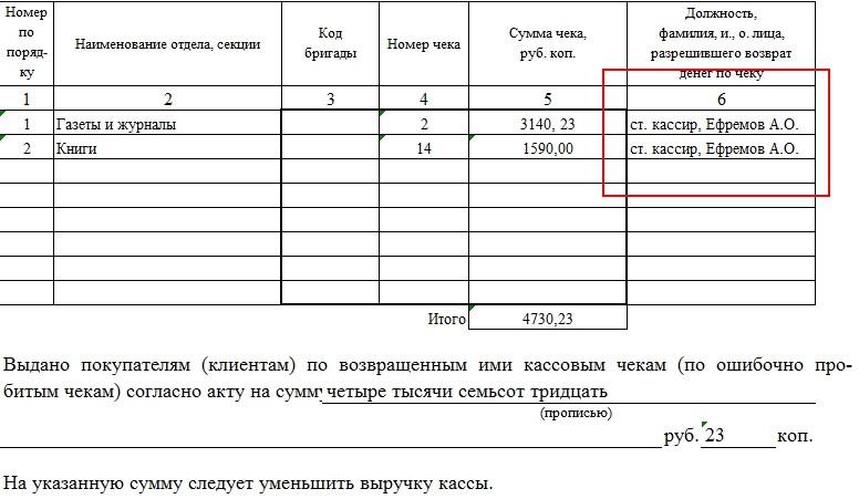 Порядок заполнения акта о возврате денежных сумм